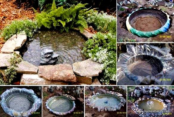 bassin d'eau avec pneu