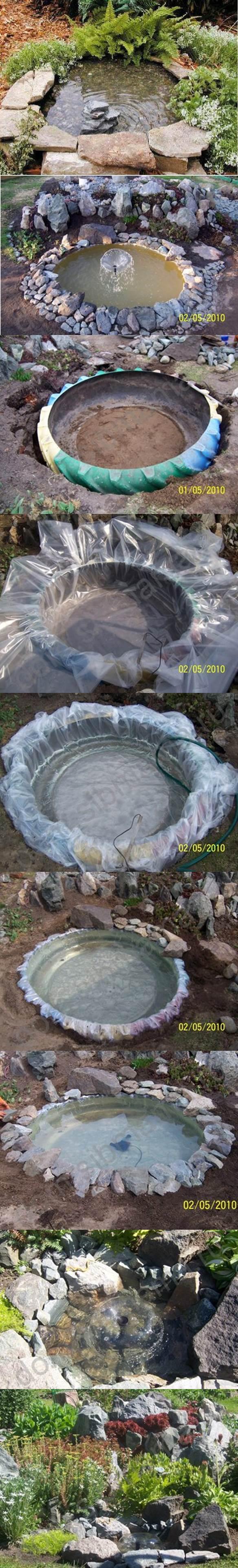 piscine étang avec de vieux pneus (9)